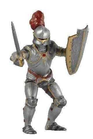 Postavička rytíř v brnění s červenými akcenty.
